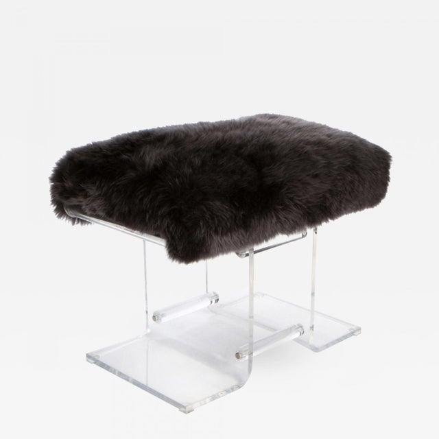 1980s Lucite & Fur Bench For Sale - Image 4 of 4