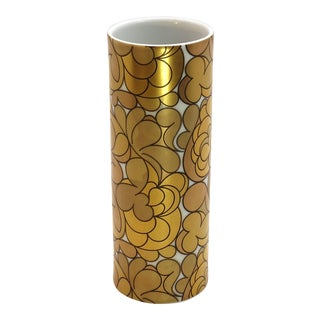 1960s Contemporary Groovy Rosenthal Op Art Gold White Porcelain Columnar Vase For Sale