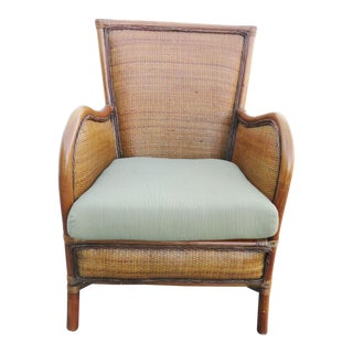 Contemporary Wicker & Bamboo Armchair For Sale