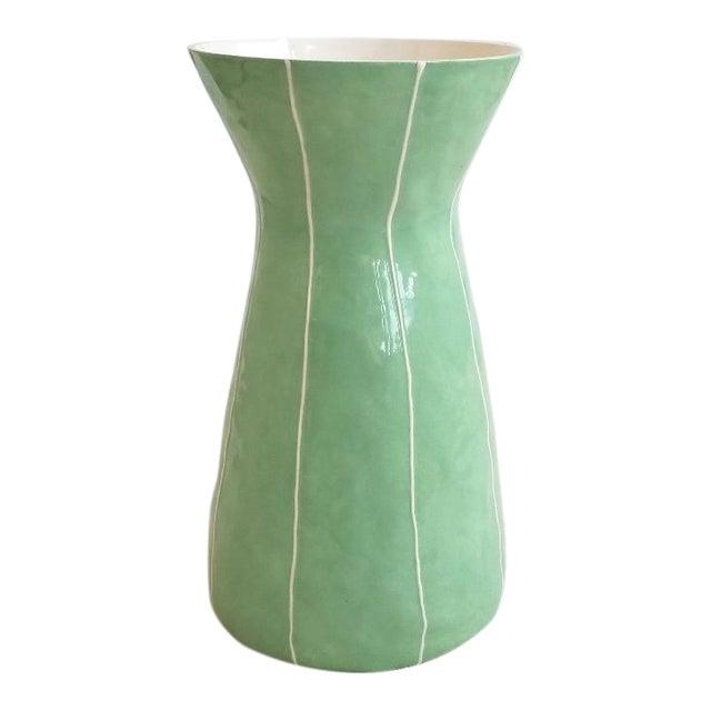 Contemporary Light Green Ceramic Vase For Sale