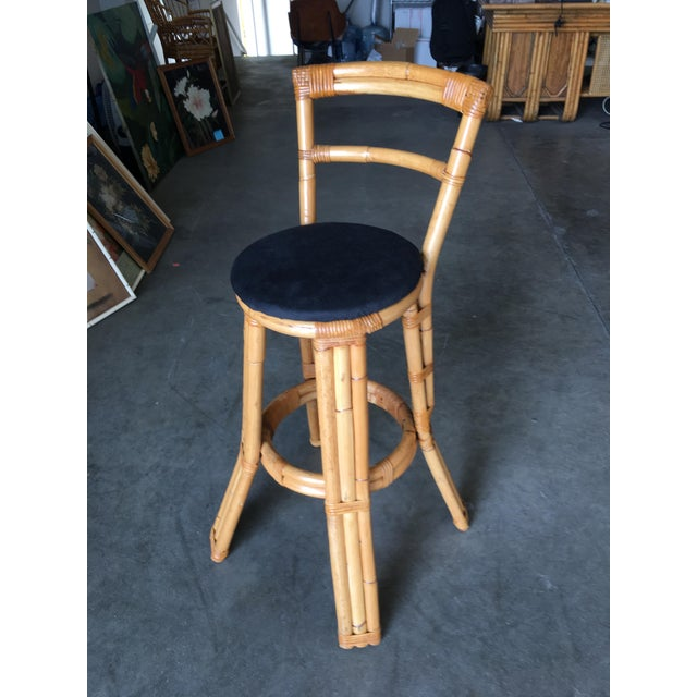 Restored Three Strand Rattan Bar Stool W/ Pole Rattan Back, Pair For Sale - Image 4 of 8