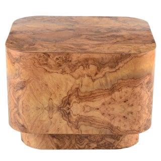 20th Century Contemporary Burl Grained Laminate End Table For Sale