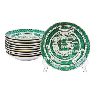 Set of Ten Green Chinese Export Low Bowls