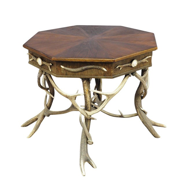 Wood 1900 Octagonal Antler Table For Sale - Image 7 of 7