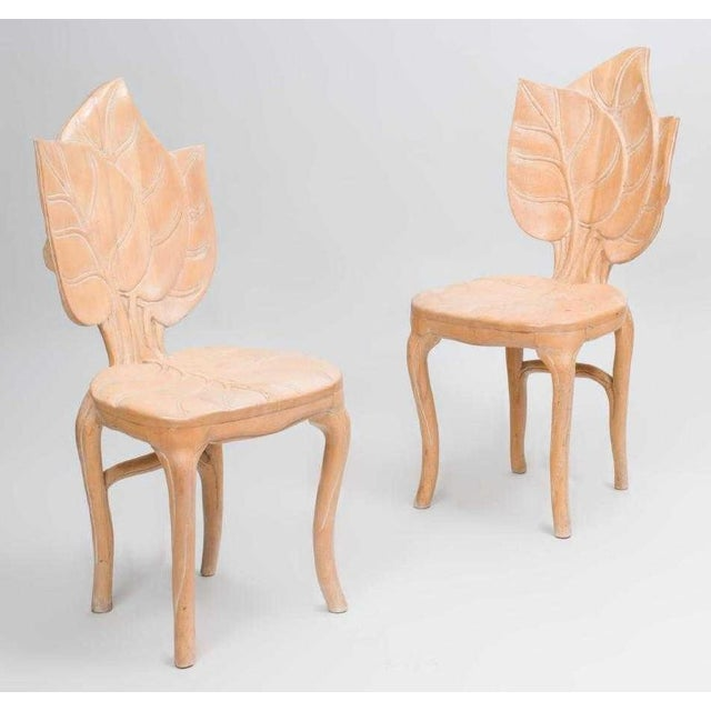 1970s Pair Bartolozzi & Maioli Carved Wooden Side Chairs For Sale - Image 5 of 5