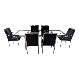 Milo Baughman Chrome Extending Dining Table With Matching Mohair Maharam Chairs For Sale