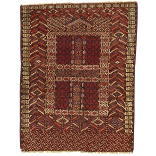 Late 19th Century Antique Russian Tekkeh Rug - 4′2″ × 4′10″ For Sale
