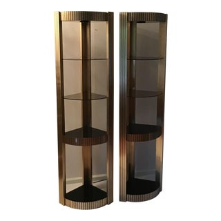 Pierre Vandel Style Hollywood Regency Illuminated Etagere-a Pair For Sale