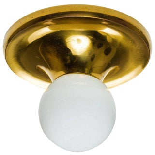 1960s Gino Sarfatti Brass & Glass Flushmount Lamp
