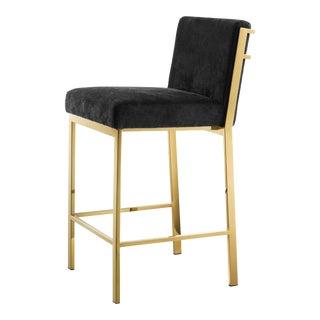Gold Black Velvet Counter Stool   Eichholtz Scott For Sale