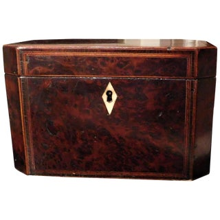 George III Burl Walnut Inlaid Tea Caddy For Sale