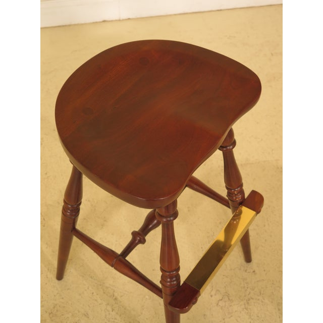 Frederick Duckloe Cherry Saddle Seat High Seat Bar Stools - Set of 3 For Sale In Philadelphia - Image 6 of 11