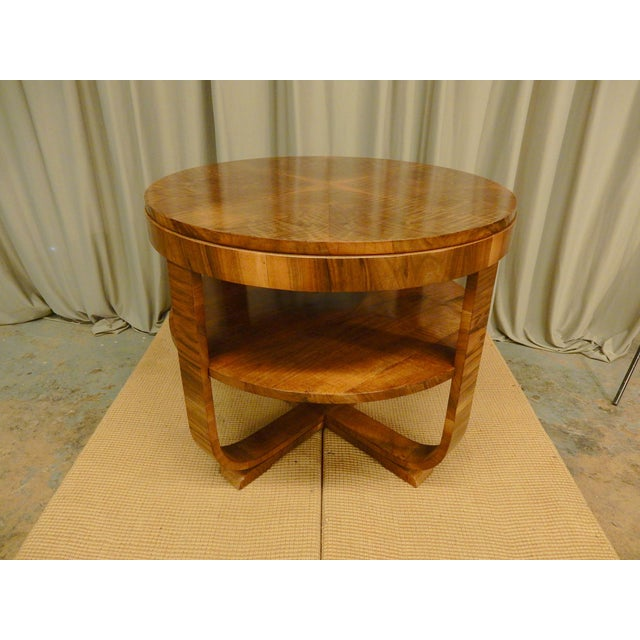 Art Deco Walnut Round Side Table For Sale In New Orleans - Image 6 of 6