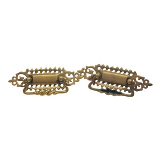 Pair of Traditional Cut Out Swirl Brass Bail Pulls For Sale