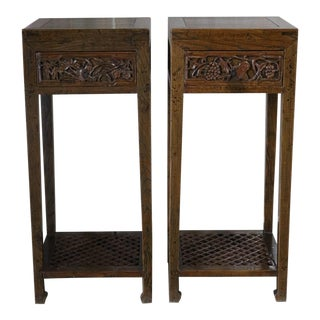 Chinese Elm Plant Stands - a Pair For Sale