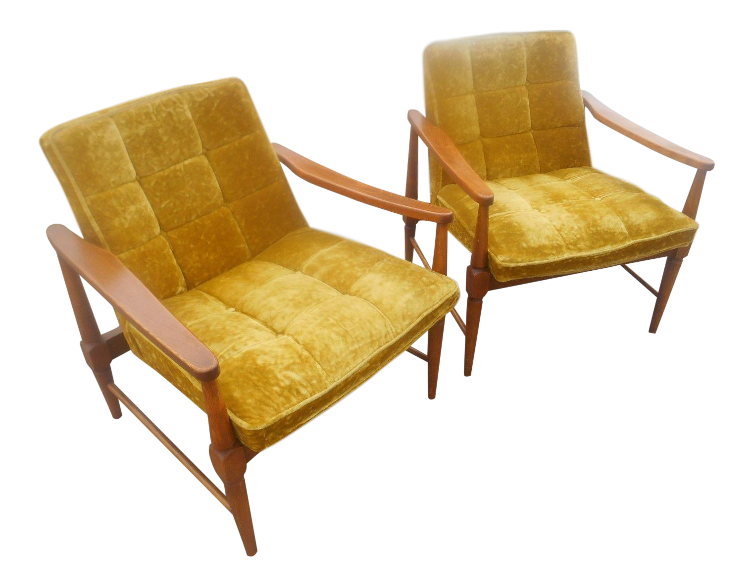Vintage Mid Century Danish Modern Lounge Chairs  A Pair