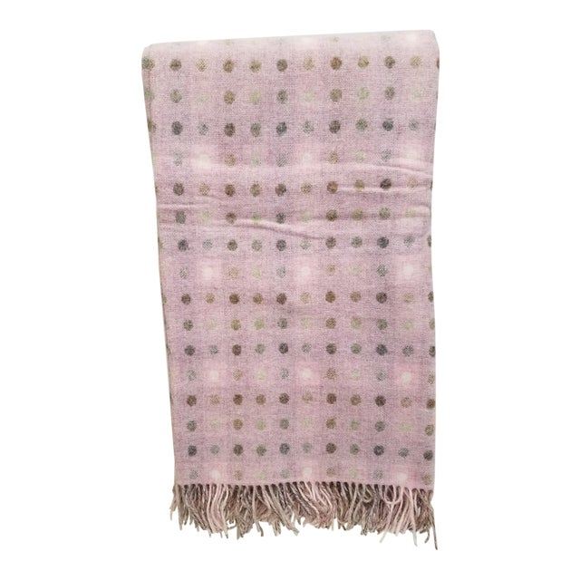 Wool Throw Brown and White Polka Dots on Pink Background - Made in England For Sale