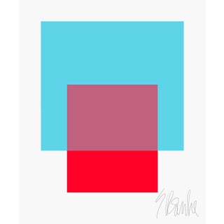 """The Interaction of Turquoise and Red Fine Art Print 40"""" X 50"""" For Sale"""