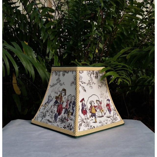 Black Toile Lampshade French Country Square Bell For Sale - Image 8 of 11