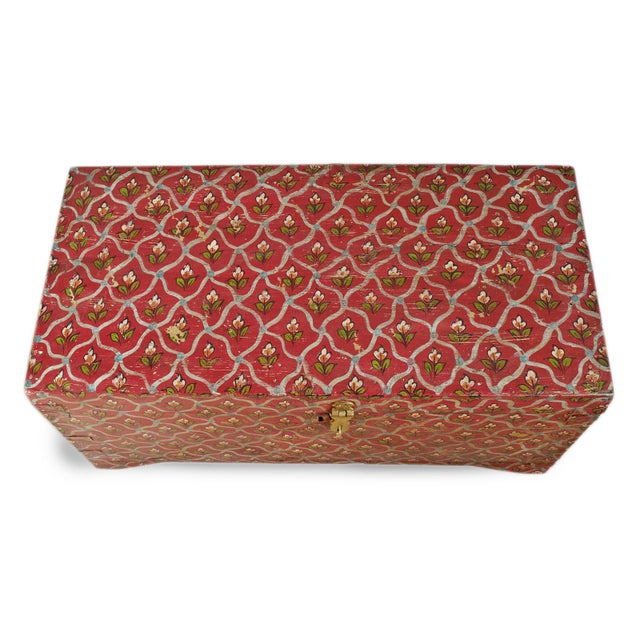 Antique India painted flower wood box or trunk. Beautiful red background with delicate small handprinted flower design...
