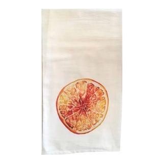 Watercolored Orange Tea Towel For Sale