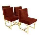 Image of Vintage Mid Century Milo Baughman Style Upholstered Brass Chairs - Set of 4 For Sale