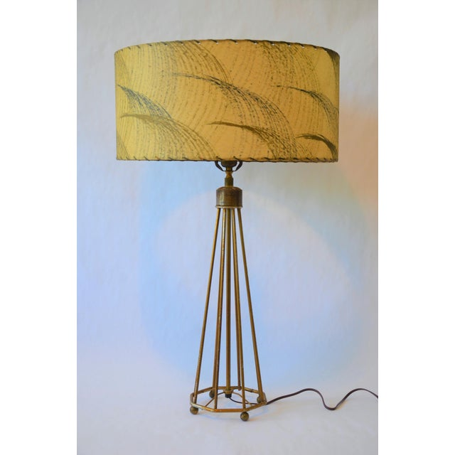 Atomic Modern Wire Frame Lamp and Shade For Sale - Image 12 of 12
