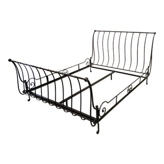 Hammered Iron Queen Sleigh Bed For Sale