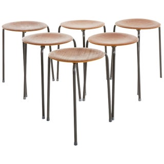 1950s Vintage Arne Jacobsen Style Swedish Modern Architects Stools- Set of 6 For Sale