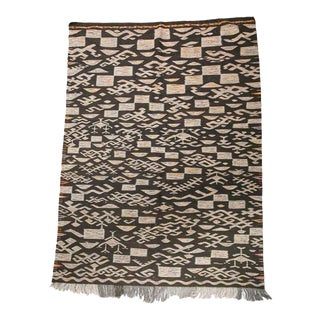 "Akhnif Moroccan Wool Kilim Rug - 7'2"" X 5'2"" Ft For Sale"