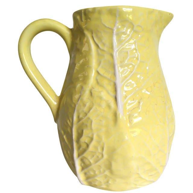 Yellow Majolica Cabbage Leaf Pitcher - Image 1 of 8
