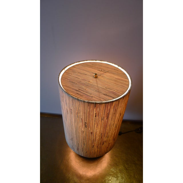 Modern Brass Table Lamp with Custom Grasscloth Shade - Image 4 of 10
