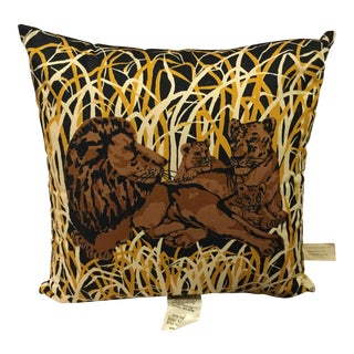 Block Printed Lions Pillow Cover For Sale