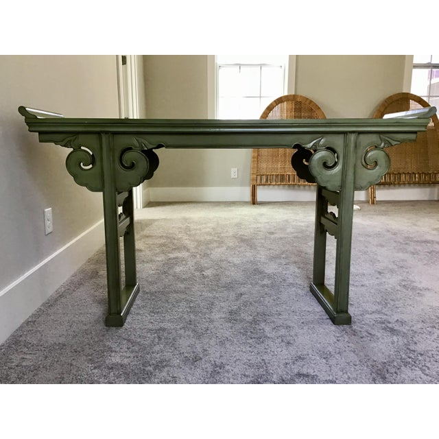 20th Century Asian Style Jade Wood Altar Console Table For Sale - Image 9 of 10