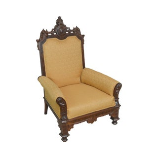 Victorian Renaissance Carved Walnut & Upholstery Throne Chair For Sale