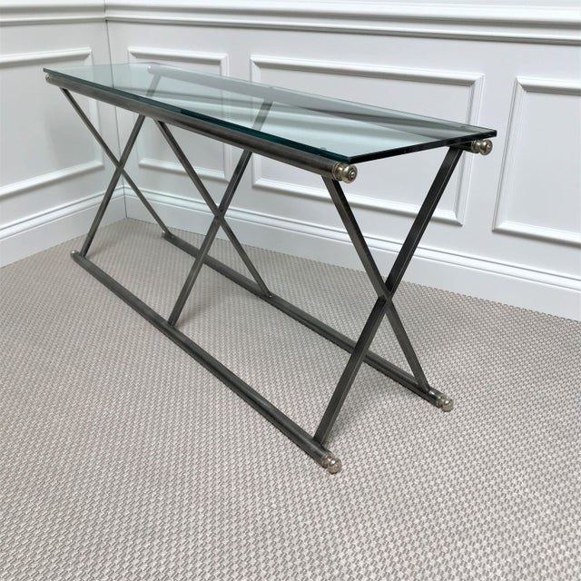 1980s Post Modern Classicism Brushed Steel & Glass Console Table For Sale - Image 5 of 9
