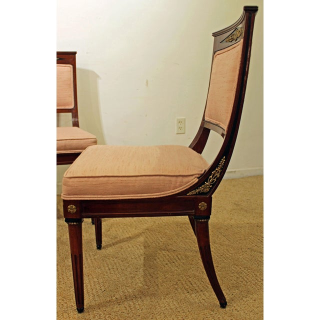 Set of 4 French Regency Mahogany Ormolu Carved Dining Chairs For Sale In Philadelphia - Image 6 of 11