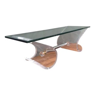 Hollywood Regency Lucite and Chrome Coffee Table For Sale