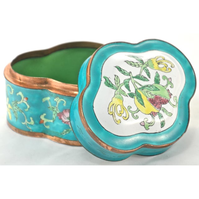 Vintage chinoiserie lobed copper box with a hand-applied enamel floral exterior in shades of turquoise blue, yellow, green...