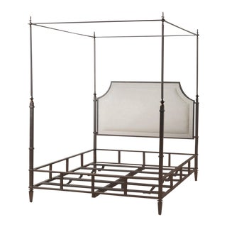 Marshall Iron & Linen Upholstered Queen Bedframe For Sale
