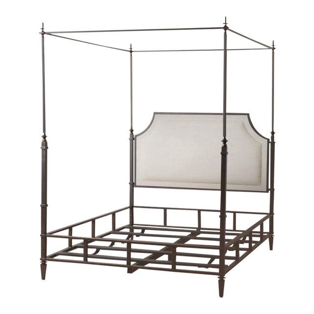 Marshall Iron & Linen Upholstered Queen Bedframe For Sale