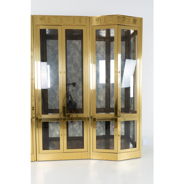Mid 20th Century Mastercraft Mid Century Brass Display Cabinet - Set of 3 For Sale - Image 5 of 13