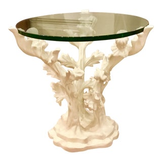 Global Views Traditional White Bloom Table For Sale