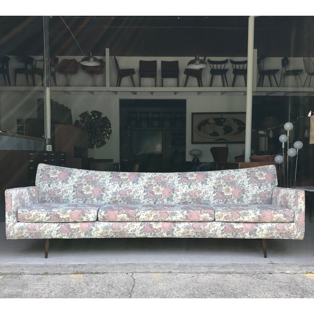 "97"" Mint Condition Curved Front Sofa Mid Century McCobb Style For Sale - Image 12 of 12"