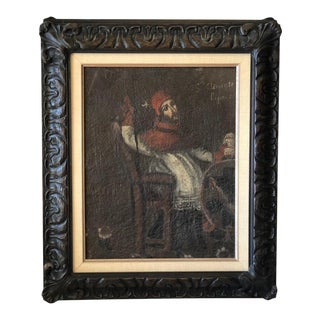 Antique 18th C Oil Painting of St Clement the Pope Patron Saint of Sailors & Children For Sale