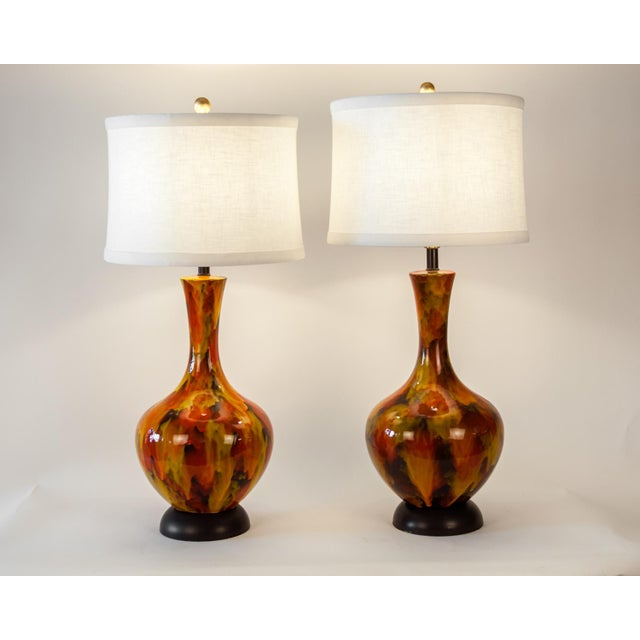 Contemporary Vintage Porcelain Table or Task Lamps With Brass Base - a Pair For Sale - Image 3 of 13