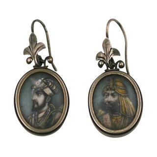 19th Century Indian Miniature Earrings For Sale
