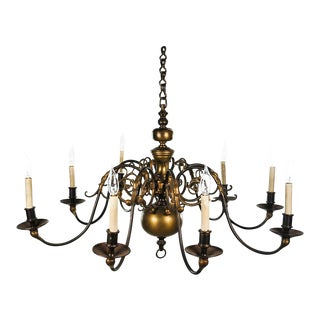 19th Century Antique Solid Brass Dutch 8 Light Chandelier For Sale