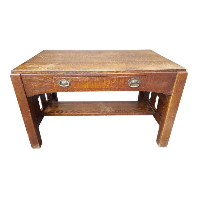 Mission Oak Arts Crafts Library Table Desk C.1900 For Sale