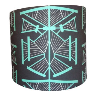 Emerald Gemstones From the Andes Mountains - Art Deco Lamp Shade With Designer Fabric For Sale